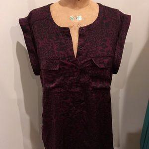 Dark purple and black leopard print satin blouse